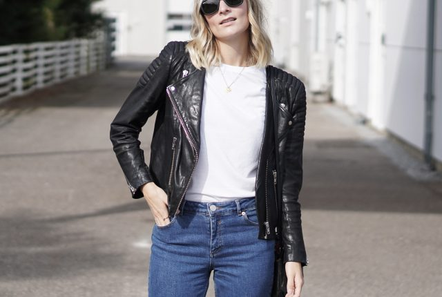 Style: true blue jeans & leather jacket.